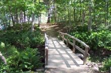 bridge to tenting area