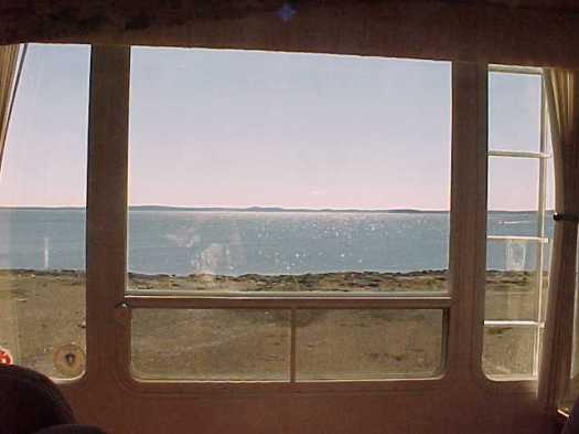 inside the RV looking out