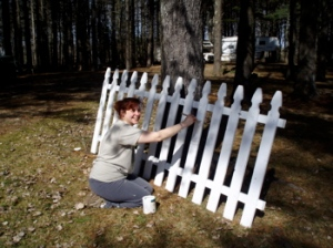 Assunta freshens the picket fence