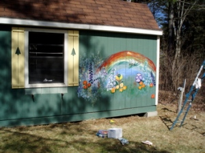 Garden Mural on the Guest Cabin