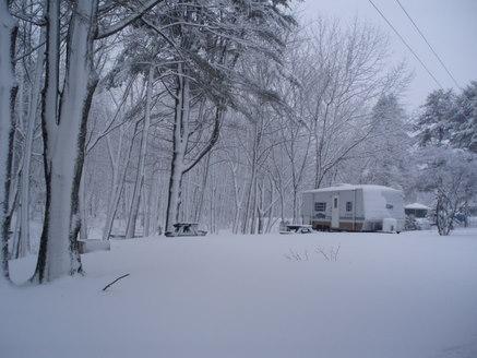 Gale's trailer snug in the quiet snow