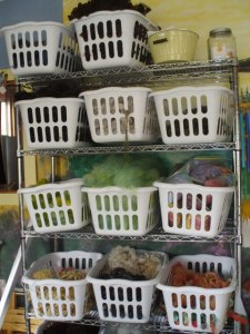 By popular request, we'll have baskets of Maine wool for sale, perfect for spinning, felting and locker hooking