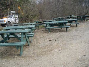 Endless picnic tables need new boards and refreshed stain