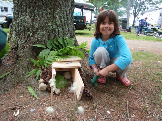 Saylor (7) from Brooklyn made a home for Lilly the Lizard to share with the fairies that play at the campsite.  Can you see the entrance with flags of Queen Lollie Pop locks flying in the breeze.