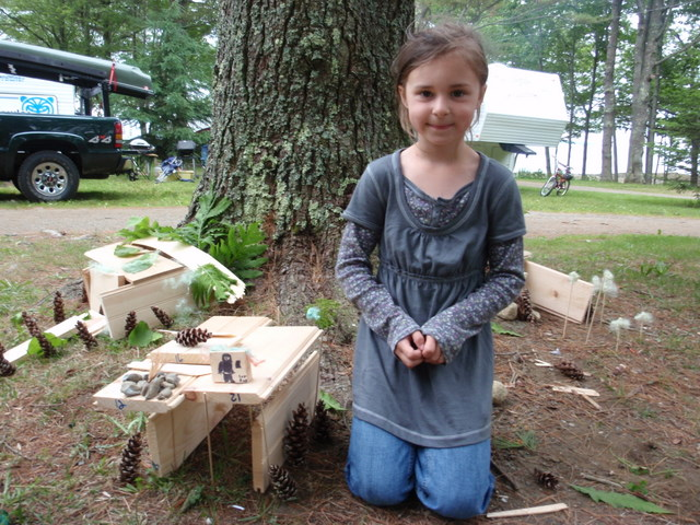 Megan (almost 7) from Blue Hill added electricity at Emily Ann the Lizard's home so that she watch TV on rainy days.  Emily Ann likes living by the sea