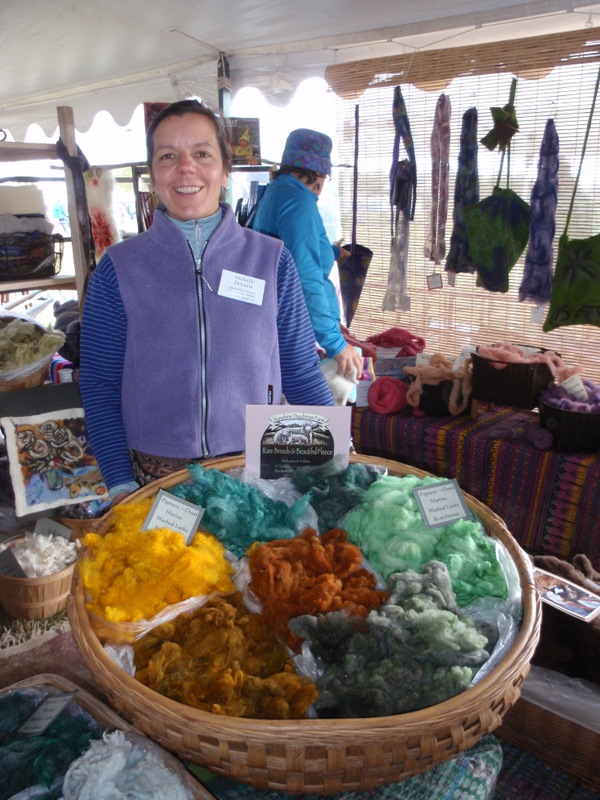 Michelle from Fiber College...or more commonly from Sunshine Daydream Farm...beautiful pigment dyed wool locks