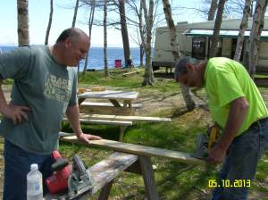 Al & Gary building a deck for site #11