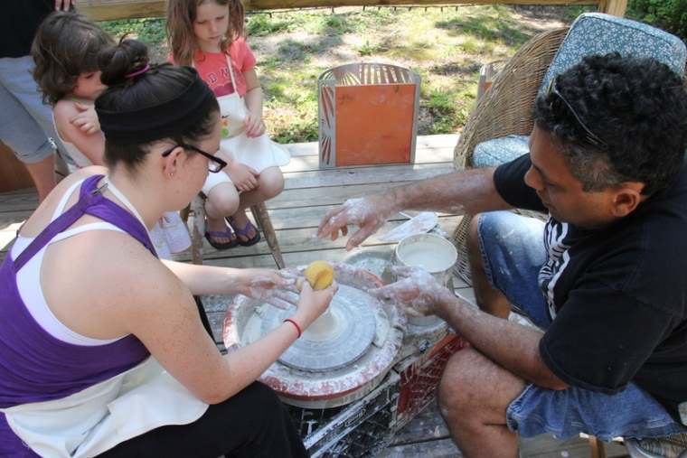 Randy Cohen was a great pottery teacher...and who doesn't want to play with cool, wet clay on a scorching hot summer day?