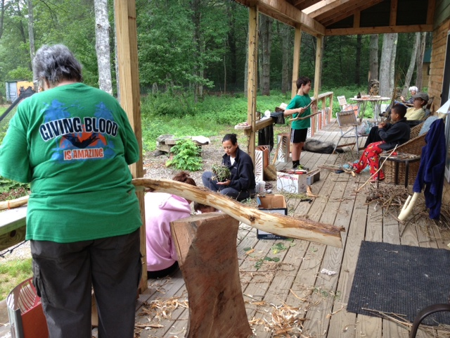 Whittling and basket making with Artist in Residence Barbara Andrus