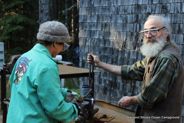 My principal project was a door handle shaped like a honey bee for the pizza oven Steve is building at the studio.  Doug Wilson was a fantastic teacher...that's me with the acetylene torch (just a few days ago I didn't know what acetylene was)