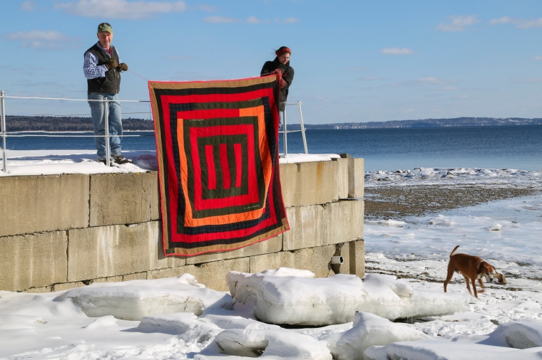 Don't you love the bold, corduroy graphics against the blue and white of Penobscot Bay?