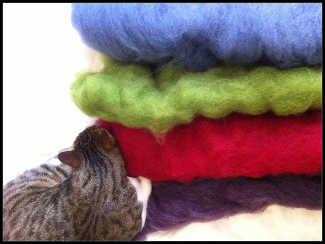 Plant dyed wool batts ready to spin