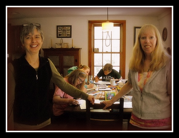 Annette (left) and Joyce  (right)  during a journaling/art workshop held in April 2014