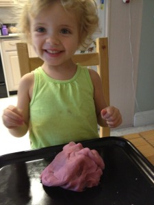 Jen and our home-made Play Dough