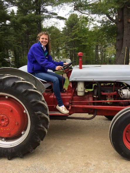 tractor, Maine, girl, riding, red