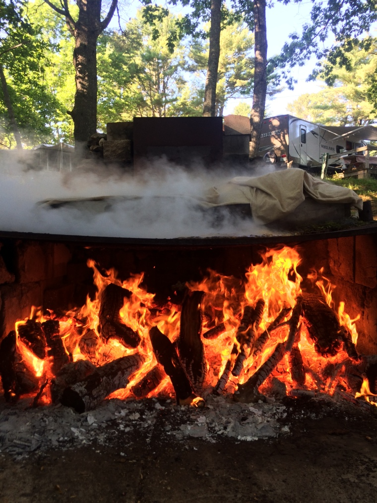fire, lobster, maine, camping